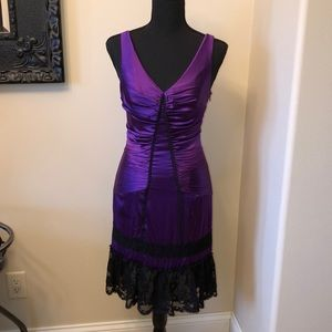 Betsey Johnson Purple Silk/Lace Slip Dress